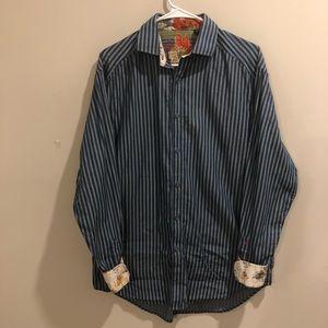 Robert Graham striped button down shirt blue